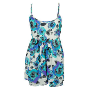 Volcom Floral Print Blue and Purple Romper